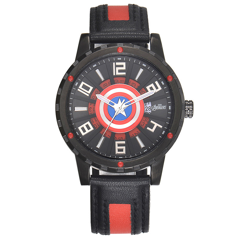 Disney students mens watches leather quartz clocks boys casual waterproof luminous wristwatch Captain America shield number<br>