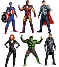 Free shipping ,Adult Marvel's The Avengers iron man Captain America Hulk Thor  Punisher musle Black widow costume