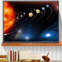 Cosmic 3D Solar System Planets Astronomy Art Painting Print Canvas Poster Wall Decor Pictures Decorative Silk Fabric No Frame