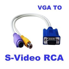 5pcs 30cm 1Ft VGA to RCA S-Video S Video Cable Adapter Converter 15 pin Composite AV TV Out Adapter