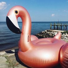 Inflatable Flamingo Pool Float Toy 150CM Party Water Rose Gold Giant Pink Cute Boia Tube Ride-On Swim Ring For Holiday Fun Party(China)