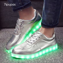 7ipupas Classic Led luminous sneakers Matte silver Male Fashion Light up glowing sneaker kid boys girls Chaussure Homme Led Shoe