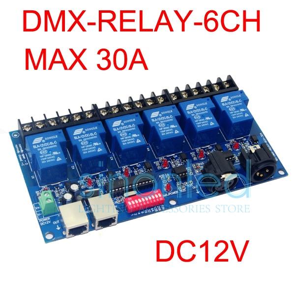 6CH Relay switch dmx512 Controller RJ45 XLR, relay output,DMX512 relay control,6 way relay switch(max 30A)<br>