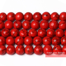 Free shipping Natural Round Loose Spacer Red Turquesa Stone Beads  4 6 8 10 12mm Pick Size TB03