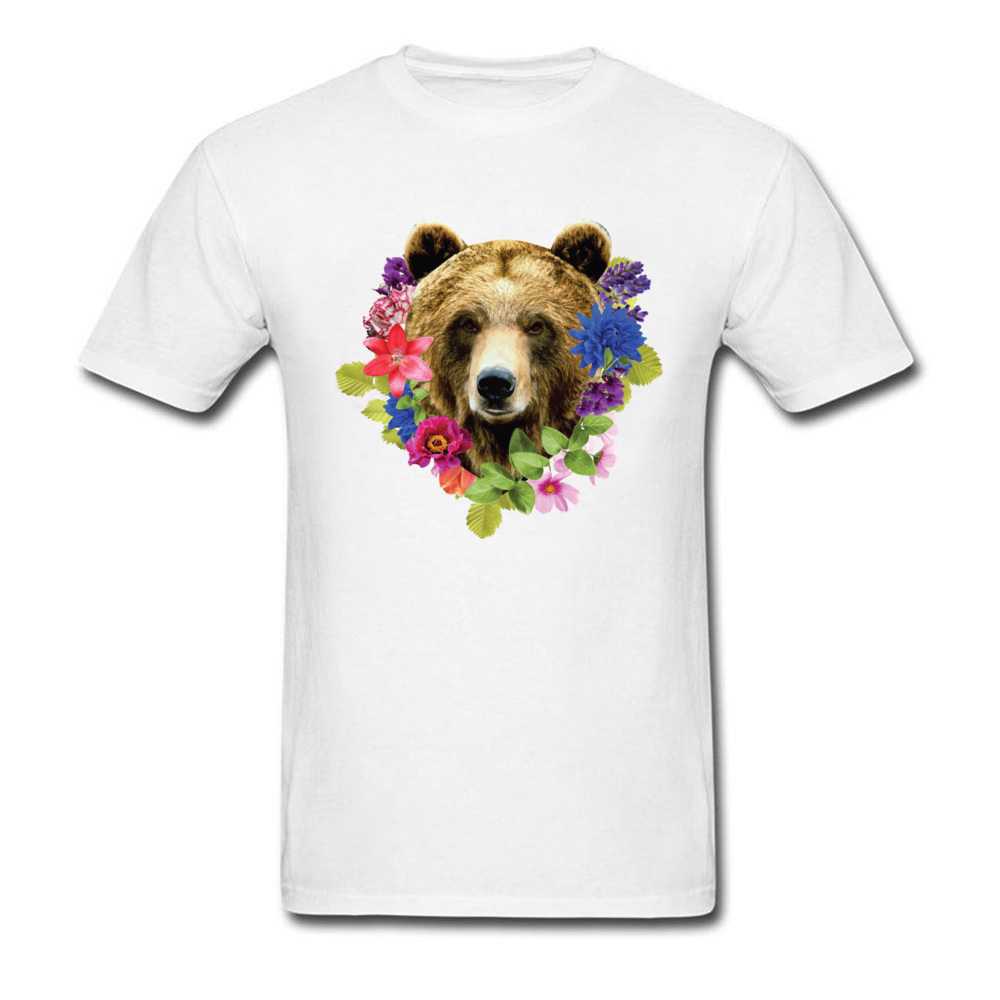 Floral Bearr Mens Fied Classic Tops T Shirt Round Collar Lovers Day Coon T-shirts Summer Short Sleeve Sweatshirts Floral Bearr white