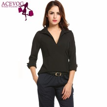 ACEVOG Women Blouse Blusas Autumn V-Neck Roll Up 3/4 Sleeve Solid Black Slim Fit Blouse Tops Work Shirt Back Zipper Closure