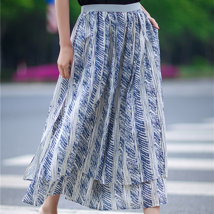 New Flowing irregular culotte summer trousers with batik cotton and linen wide pants loose double layer printed pantalon