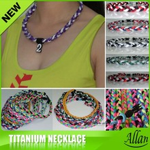 New Style Custom Cheap Sports Silicon Braided Multicolor Titanium Necklace Clip