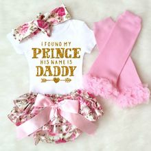 4Pcs Newborn Baby Girl Clothes 2017 Summer Short Sleeve Cotton Romper Floral Shorts Leg Warmer + Headband Prince Daddy Outfits(China)
