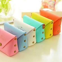 New Fashion Lovely Kawaii Candy Color Women Girls Wallet Multicolor Coin Bag Purse Kid Gift  Change Pouch Key Holder PU Leather