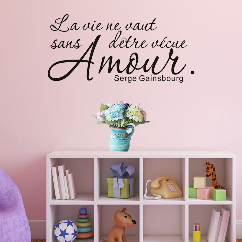 Romantic French Sayings Quotes Wall Stickers Home Decor Living Room Bedroom Decor Removable Vinyl Wallpaper Home Decoration(China)