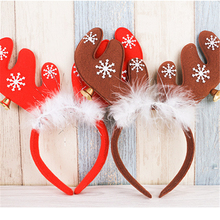 1Pcs plastic Christmas ears with bells headband head buckets holiday makeup dress props Christmas party decorations