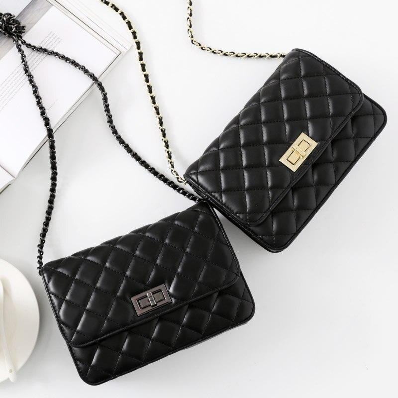 Ladies Genuine Leather Shoulder Bag Luxury Handbag Women Bags Designer Female Crossbody Bag Black Small Flap Bag Womens Pouch<br>