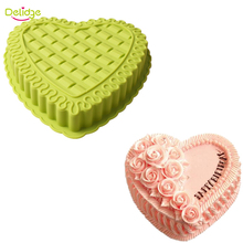 Delidge 1 pc Heart Shape Cake Molds Silicone Large Size Cake Pan Molds Cookie Biscuit Weeding Cake Fondant Decoration Tool(China)