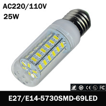 zk55 E27 E14 LED Light lamp AC 220 V SMD 5730 Led corn bulb lighting projector lamp 69 Led E27 Led Bulbs(China)