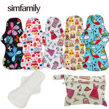 [simfamily]5+1 Heavy Flow Pad Sets Menstrual Cloth Sanitary Pads,Including 5Pcs Pads+1Pc Mini Wet Bag,Reusable & Washable(China)