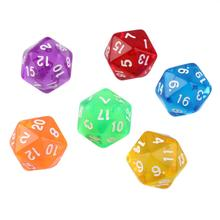 6pcs/Set Acrylic Games Multi Sides Dice D20 Gaming Dices Game Playing Mixed Color Showing off your gaming skills drop shipping