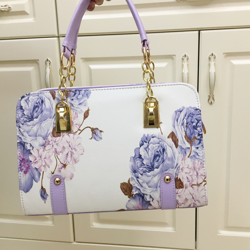 2017fashion flowers ladies bags printing women handbags female bag small shell bags luxury designer crossbody leather bags<br>