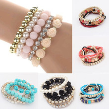 Sale Women Handmade New Style Beaded Bracelet Bohemia Stretch Multilayer Bead Flower Charm Bangle Elastic Gift 13 Styles