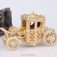 Crown Carriage Bejeweled Collectible Trinket Jewelry Box Carriage Cart Gift Crown Carriage Keepsake Trinket Pill Box Figurine