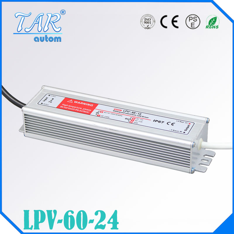 LED Driver Power Supply Lighting Transformer Waterproof IP67 Input AC170-250V DC 24V 60W Adapter for LED Strip LD504<br>