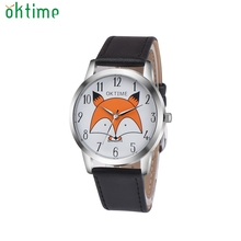 OKTIME 2017 Super Quality Retro Cartoon Fox Design Leather Band Analog Alloy Quartz Wrist Watch classic look Business Gifts Feb9(China)