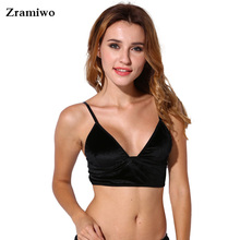 Velvet Bralette Soft Triangle Bralet Outfit Crop Top Modest Elegant Bra Cami Ladies lingerie(China)
