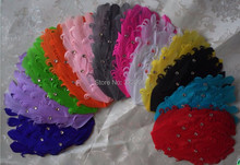 Hot sale 24pcs/lot Wholesale Curly Feather Pad Diy Hair Accessories 12 colors feather Boa Goose feather for Craft