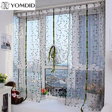 Pastoral Roman Curtain Floral Tulle Curtains For Kitchen Embroidered Voile cortina in the kitchen Living Room Hotel Windows(China)