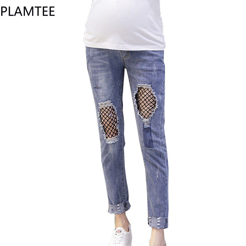 PLAMTEE Summer Denim Maternity Jeans Mesh Hole Clothes for Pregnant Women Waist Adjustable Pregnancy 2017 Fashion Trousers Wear<br>