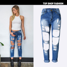 Europe and the United States women hole bleaching denim trousers fashion comfortable tall waist straight leg(China)