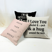 NEW Fashion Letter Printed Pink Black Cushion Cover Cotton Linen Throw Pillow Case for Home Sofa Car 45*45cm Cojines