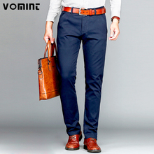 Vomint Brand Mens Pant Classics Casual Business Stretch trousers regular Straight Pant Black Blue Khaki 4 Colors Plus Size 44 46(China)
