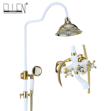 Bathroom Rain Shower Set White and Gold Finished Luxury Wall Mounted Bath Shower Faucet Copper