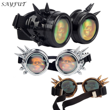 SAYFUT New Arrival 3D Skull Lens Cool Vintage Steampunk Goggles Glasses Halloween Welding Party Punk Gothic Cosplay Eyewear