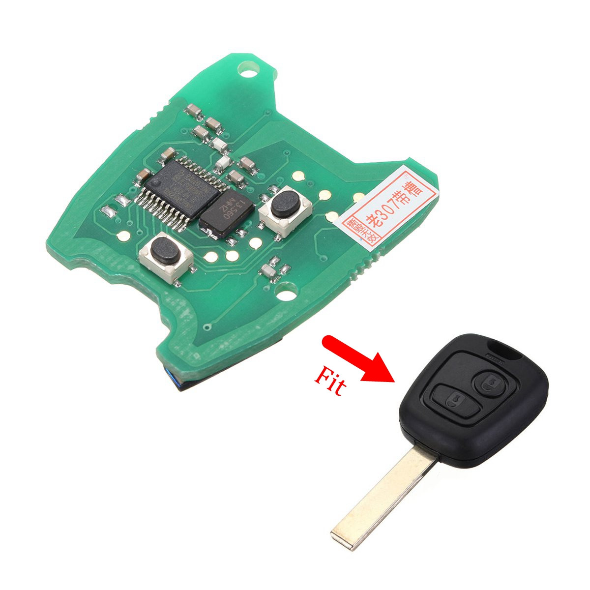 433MHz 2 Button Remote Key Fob Circuit Board For Peugeot 307 For Citroen 73373067C(China (Mainland))