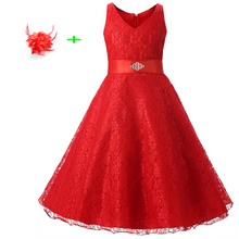 Lace sleeveless beauty pageant graduation dress kids girl summer clothes red juniors party dresses for girls for weddings(China)