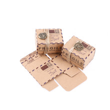 50PCS Stamp Design Gift Box Candy Box Wedding Vintage Chocolate Packaging Kraft Wedding Favors Gifts Bag Party Supplies 3Styles(China)