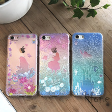 Kerzzil 3D Relief Alice Princess Mermaid Soft Flower Case For iphone 6 6S 7 6s 7 Plus 5 SE 5s Cartoon Silicone Phone Cover Back
