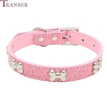 Transer Pet Dog Supplies Alligator PU Leather Bone Pet Necklace Accessory Pet Supply Dog Collar For Small Medium Dog 80124(China)