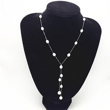 fashion Natural Woman Pearl Pendant jewelry,100% Freshwater 6-7mm Rice Long Pearl necklace with S925 silver(China)
