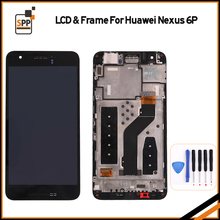 For Huawei Google Nexus 6P LCD Display Touch Screen Digitizer Assembly With Frame Replacement Parts Black+tool 2560x1440(China)