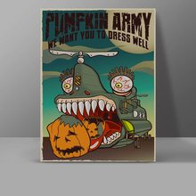 Super Pumpkin Army Canvas Helicopter Harvest Monster Painting Wall Pictures Bedroom Funny Cartoon Art Painting(China)