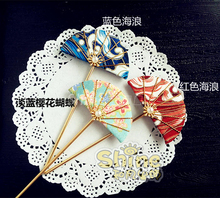 hand made hairpin cotton cloth hair clip Japanese anime Kimono cosplay accessories free shipping sakura tassels fan(China)