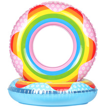 60-90CM Rainbow Inflatable Swim Ring for Adult Kids Life Ring for Swimming Buoyancy kayak Pool Toys Life Buoy A