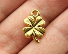 WYSIWYG 20pcs 17mm antique gold clover charms