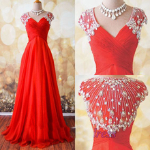 Real Picture Evening Gowns Floor Length Pleats Crystal Beading Glass Diamond Floor Length Evening Dresses Red
