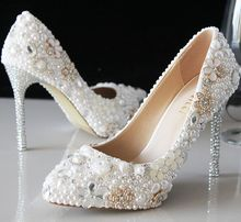 white pearl Crystal wedding shoes pearl bridal shoes rhinestone handmade high heels white thin heels pointed toe shoes pumps