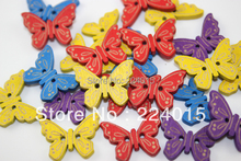Free Shipping 100pcs/23*17mm Mixed Color Wood Colorful Butterfly Wooden Cabochon Bead Button For Children's Christmas Gift Diy(China)