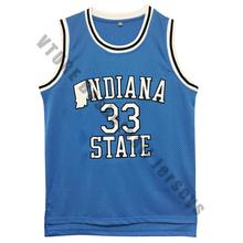 VTURE Mens Indiana State Sycamores Larry Bird #33 Blue Basketball Jerseys Embroidery Logos New Materials With Double St